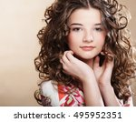image of beautiful young woman... | Shutterstock . vector #495952351