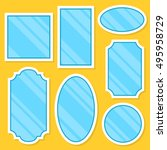 white frame vector mirrors set. ... | Shutterstock .eps vector #495958729
