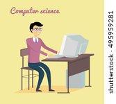 computer science concept vector.... | Shutterstock .eps vector #495959281
