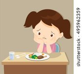 child eating boring food.cute... | Shutterstock .eps vector #495962359