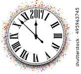 2017 new year round clock with... | Shutterstock .eps vector #495963745