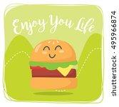 cartoon food card template | Shutterstock .eps vector #495966874