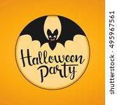halloween party handwritten... | Shutterstock .eps vector #495967561