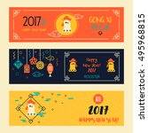 banners set with linear... | Shutterstock .eps vector #495968815