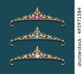 set of vintage jewelry gold...   Shutterstock .eps vector #495971584