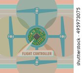 air drone quadro copter... | Shutterstock .eps vector #495973075