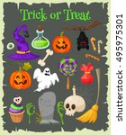 trick or treat. halloween icons ... | Shutterstock .eps vector #495975301