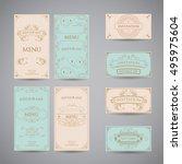 set of vintage luxury greeting...   Shutterstock .eps vector #495975604