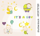 set of cute boy illustrations ... | Shutterstock .eps vector #495979789