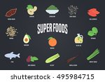 set of superfoods products ... | Shutterstock .eps vector #495984715