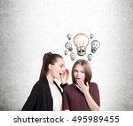 portrait of two girlfriends... | Shutterstock . vector #495989455
