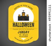 halloween party card template.... | Shutterstock .eps vector #495991111