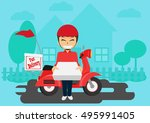 service delivery to the home by ... | Shutterstock .eps vector #495991405