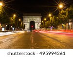 the famous arc de triomphe in... | Shutterstock . vector #495994261