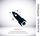 rocket icon vector  flat design ... | Shutterstock .eps vector #495996061
