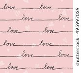 love. seamless pattern. hand... | Shutterstock .eps vector #495997039