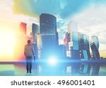 rear view of businessman with... | Shutterstock . vector #496001401