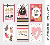 set of 6 cute creative cards... | Shutterstock .eps vector #496001941