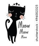 black cat vector book... | Shutterstock .eps vector #496002325
