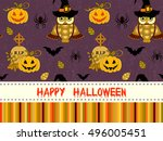 happy halloween pattern with... | Shutterstock . vector #496005451