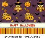 happy halloween pattern with...   Shutterstock . vector #496005451
