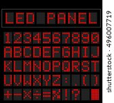 red digital square led font... | Shutterstock .eps vector #496007719