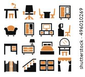 furniture  cabinet icon set | Shutterstock .eps vector #496010269