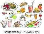 vector isolated set of hand... | Shutterstock .eps vector #496010491