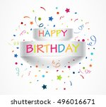 happy birthday banner with... | Shutterstock .eps vector #496016671