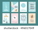 set of artistic creative merry... | Shutterstock .eps vector #496017049