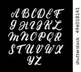 hand written uppercase alphabet.... | Shutterstock .eps vector #496018141