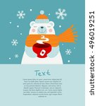 cute bear holding red cup of... | Shutterstock .eps vector #496019251
