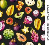 tropical pattern. exotic... | Shutterstock . vector #496019995