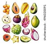 Tropical Fruits Set. Exotic...