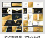set of elegant double sided... | Shutterstock .eps vector #496021105