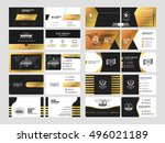 set of elegant double sided... | Shutterstock .eps vector #496021189