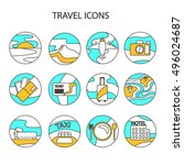 travel line icon set for web...