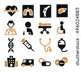 hospital  infirmary icon set | Shutterstock .eps vector #496024885