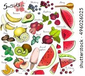 Vector Big Set Of Fruits And...
