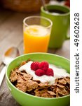 Healthy breakfast cereal with fresh berries - stock photo