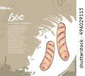 hand drawn sausage grill with... | Shutterstock .eps vector #496029115