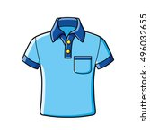 blue polo shirt icon isolated. | Shutterstock .eps vector #496032655