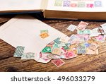 old postage stamps from various ... | Shutterstock . vector #496033279