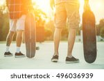 skaters friends outdoor in... | Shutterstock . vector #496036939