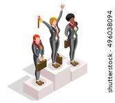 businesspeople win career... | Shutterstock .eps vector #496038094