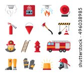 firefighting and fire safety... | Shutterstock .eps vector #496038985