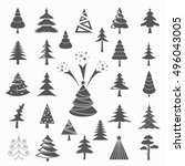 christmas tree icon set. flat... | Shutterstock .eps vector #496043005