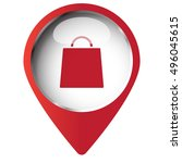 map pin symbol with shopping... | Shutterstock .eps vector #496045615