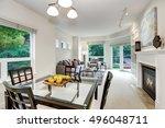 fresh apples on modern dining... | Shutterstock . vector #496048711