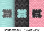retro chic seamless pattern... | Shutterstock .eps vector #496050349